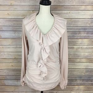 CAbi Ruffle Front Blouse Pink Rose Style 185 XL!